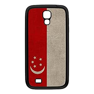 Canvas Flag of Singapore Black Silicon Rubber Case for Galaxy S4 by UltraFlags + FREE Crystal Clear Screen Protector