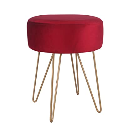 Prime Red Round Ottoman Bench With Gold Metal Base Cube Foot Dailytribune Chair Design For Home Dailytribuneorg