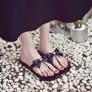 YFF Sandales femmes Printemps Été Robe PU Confort Talon plat décontracté Bowknot,Black,US6.5-7 / EU37 / UK4,5-5 / CN37