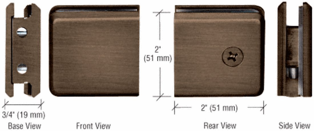 C.R. LAURENCE BGCU1ABRZ CRL Antique Bronze Beveled Style Notch-in-Glass Fixed Panel U-Clamp