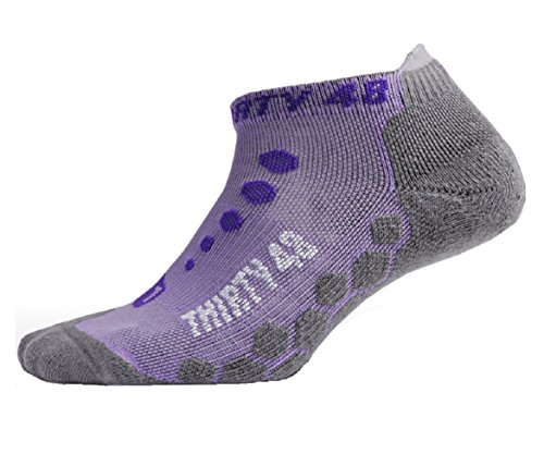 Thirty48 Ultra-Light Running Socks Unisex, CoolPlus Fabric Keeps Feet Cool & Dry; Lite Cushioning for Athletic Runners Purple/Gray Small