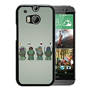 Fashionable And Unique Designed Case For HTC ONE M8 Phone Case With Funny TMNT Teenage Mutant Ninja Turtles Black