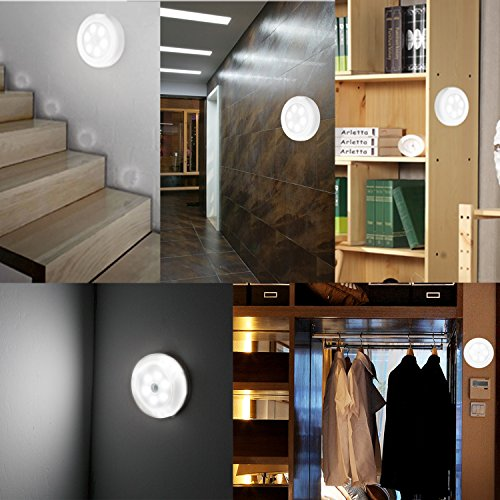 Luz con sensor de movimiento,Sensor Luz,Luz sensor de movimiento,6 PCS Sensor light Set con 6 PCS 3M Cinta / Luces de Pared Automática TEPSMIGO: Amazon.es: ...