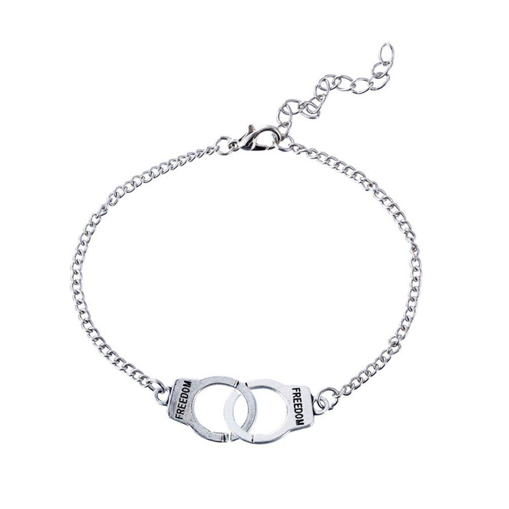 LUOEM Anklet Vintage Stylish Handcuff Shape Bracelet Anklet Couples Lock Festival Gift