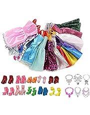 BATYY 26 peças de roupas de boneca: 10 roupas casuais estilosas + 10 saltos altos + 6 colares, para roupas de boneca de 29 cm, presente de recompensa para crianças (cor e estilo aleatórios)