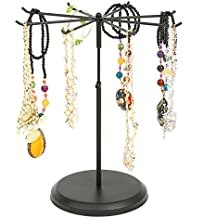 Black Metal Rotating 8 Hook Necklace & Bracelet Organizer / Countertop Jewelry Tower Display Stand