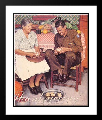 Thanksgiving Mother and Son Peeling Potatoes 20x23 Framed and Double Matted Art Print by Rockwell, Norman