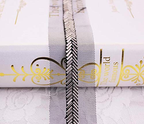 Lace Crafts - 2Yards Herringbone Beaded Lace Mesh Lace Ribbons ming Garment Collar Decor Costume Dress Lace Applique DIY Crafts KY940 - (Color: Guncolor, Size: 1cm)