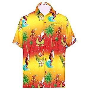 LA LEELA Men's Camp Beach Short Sleeve Casual Hawaiian Shirt