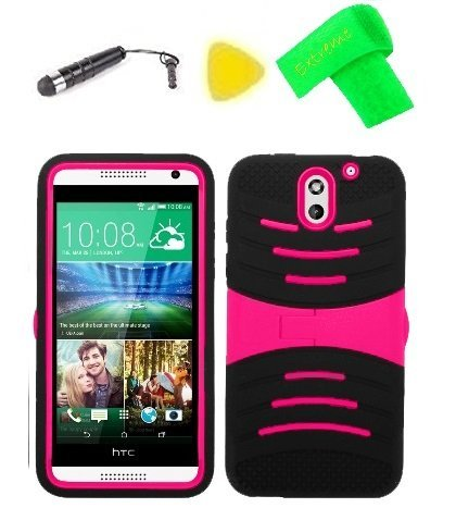 Heavy Duty Hybrid Phone Cover Case Cell Phone Accessory + Extreme Band + Stylus Pen + Yellow Pry Tool For HTC Desire 610 (S-Stand Black Pink) (Htc Desire 612 Gel Phone Cases)