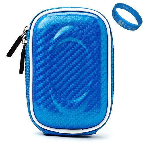 Blue Candy VG Compact Semi Hard Protective Camera Case for Samsung DV300F / MV800 / ST93 / ST90 / ST65 / ST30 / ST95 / ST700 / PL170 / PL210 / PL120 / SH100 / WB700 / PL200 / TL350 / WB2000 / AQ100 / WP10 / TL210 / PL150 / TL205 / PL100 / ST80 / ST100 / TL225 / ST550 / CL5 / PL10 / SL202 / PL50 / SL30 / ES15 / SL102 / ES55 Point & Shoot Digital Cameras + SumacLife TM Wisdom Courage Wristband