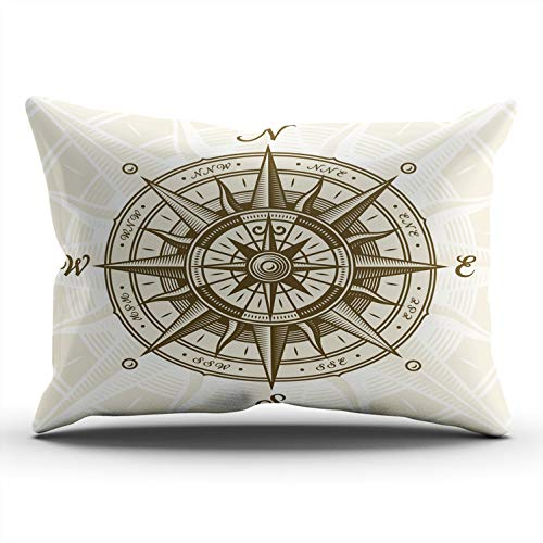 (AIHUAW Home Decorative Cushion Covers Throw Pillow Case Vintage Nautical Compass Rose Pillowcases Lumbar 12x24 Inches One Sided Printed (Set of 1))