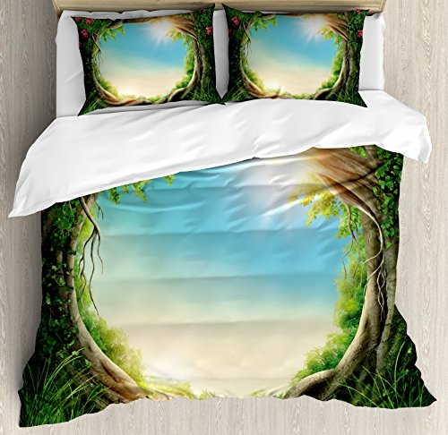 Ambesonne Tree Duvet Cover Set, Enchanted Forest in Spring Fresh Growth Foliage with Blossoms Fairytale Fantasy, Decorative 3 Piece Bedding Set with 2 Pillow Shams, King Size, Green Pink