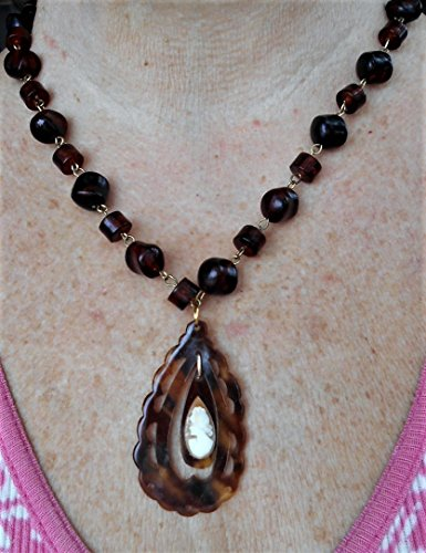 Tear Drop Left Facing Cameo on 30's Art Deco Carved Faux Tortoise Shell Scalloped Tear Drop Pendant on Faux Tortoise Chunky Link Necklace. OOAK (Necklace Faux Tortoise Shell)
