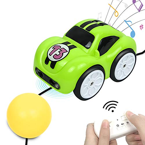 BIBIELF Remote Control Car Toy 2.4 GHz RC Cartoon Car with Music and Sound, Track, Follow, Obstacle Avoidance, 4 Modes Mini Car Toy for Boys Girls Toddlers - Green