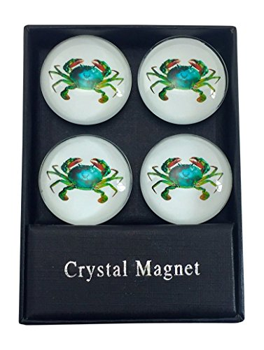 Value Arts Glass Dome Maryland Blue Crab Magnets, Set of 4