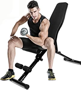 primebabe Adjustable Workout Bench, Utility Weight Bench for Home Gym Incline Decline Bench for Full Body Workout 1000lbs (Upgraded Version)