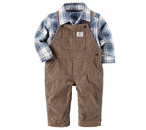 Corduroy Plaid Overalls (Carter's Baby Boys' 2 Piece Corduroy Overalls and Plaid Shirt Set 24 Months)