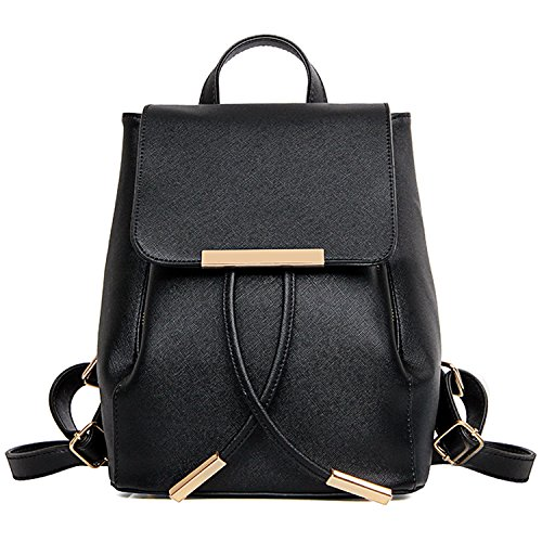 Bagerly Women Fashion Leather Backpack Mini Casual Daypack Schoolbag - Black