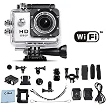 WiFi Action Camera 12MP 1080P H.264 1.5 Inch 170° Wide Angle Lens For Sports, Diving, Motorcycles, Snowmobiles, Snowboarding and more! (White)