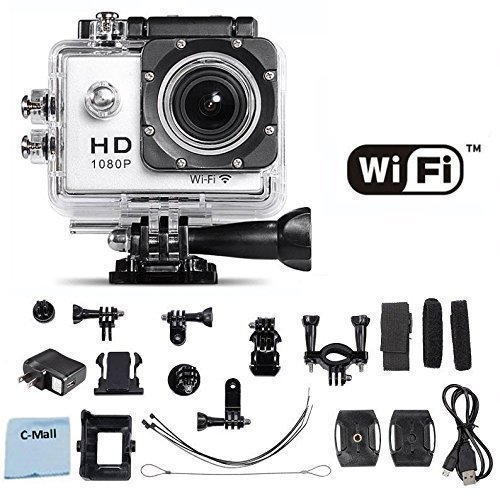 WiFi Action Camera 12MP 1080P H.264 1.5 Inch 170° Wide Angle Lens For Sports, Diving, Motorcycles, Snowmobiles, Snowboarding and more! (White) C-Mall