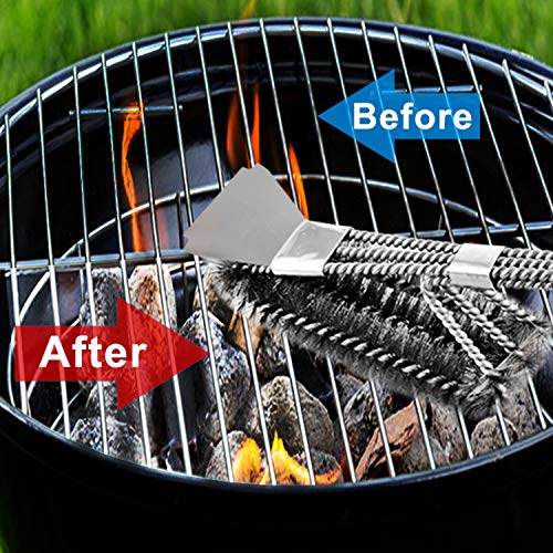 MEMX Grill Brush and Scraper,Strong BBQ Cleaner Accessories,Safe Wire Bristles 18