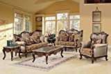 Jenna Traditional Living Room Set with Rolled Arms (7 Pcs Complete Collection Set)