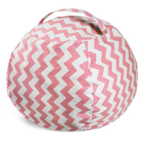 Lucky Doos Extra Large Stuffed Animal Bean Bag Chair - 38'' Soft Jumbo Cover and Pink Chevron Cotton Canvas for Kids - Teddy Bear and Plush Stuffable - XL Chairs and Toy Storage by Lucky Doos