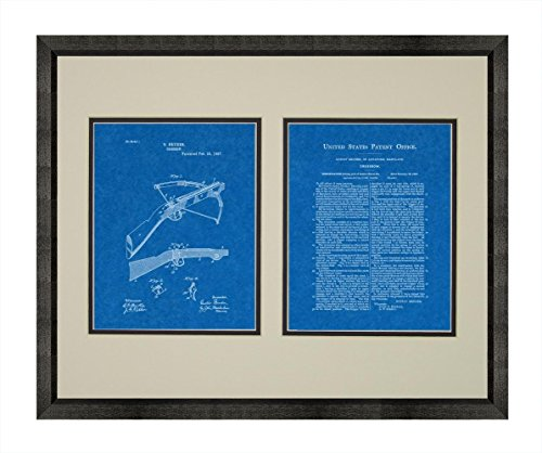 """Crossbow Patent Art Blueprint Print in a Beveled Black Wood Frame with a Double Mat (18"""" x 24"""") M12757"""