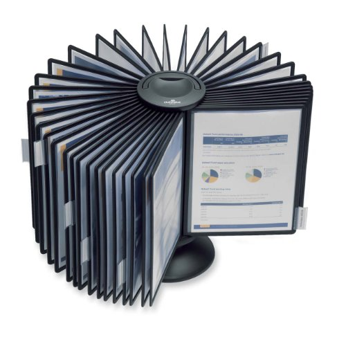 DURABLE Carousel Desktop Reference System, 40 Double-Sided Panels, Letter-Size, Black, Sherpa Design (555701) ()