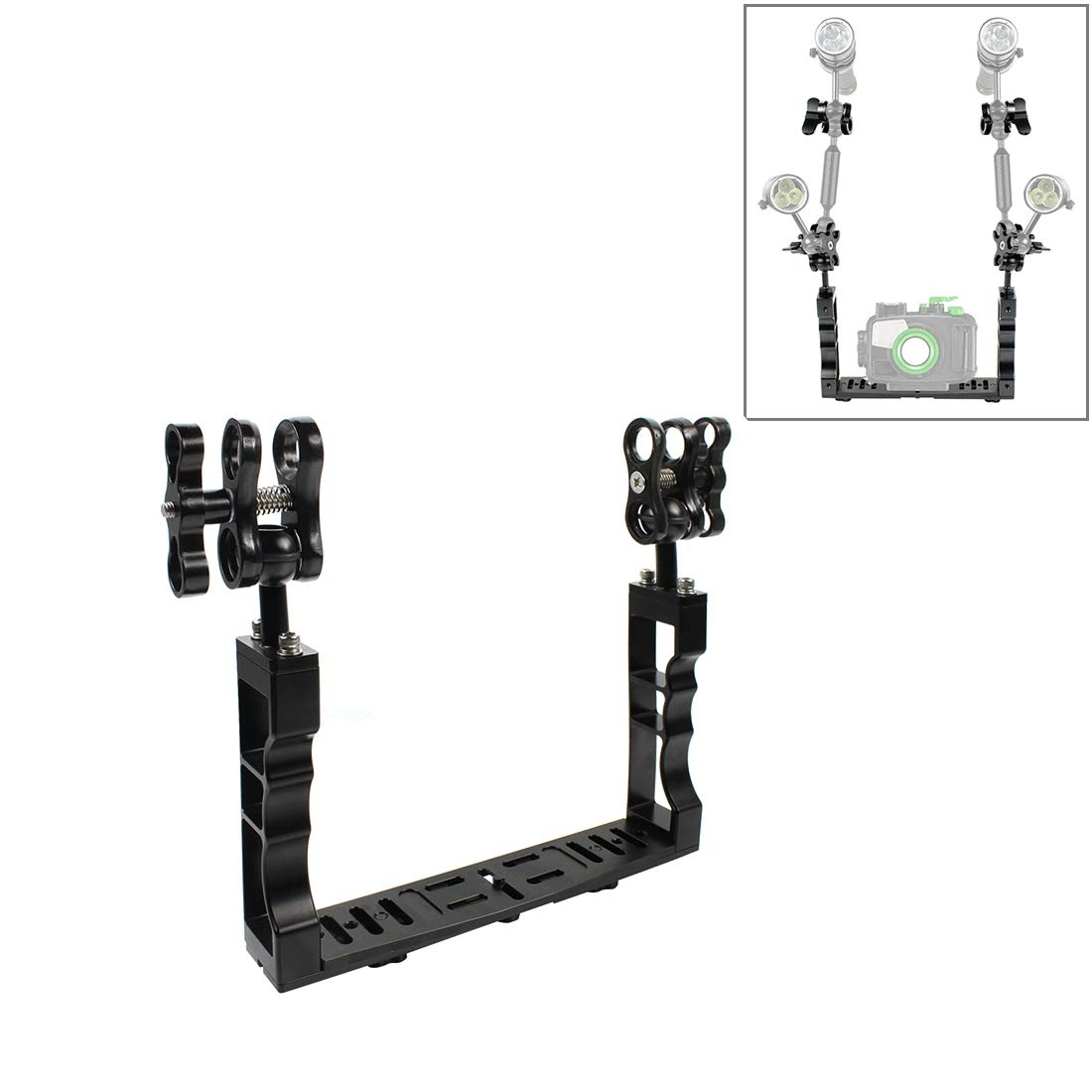 PULUZ Dual Handle Aluminium Alloy Underwater Video Light Stabilizer Tray with Dual Ball Clamp for Underwater Camera Housings by PULUZ