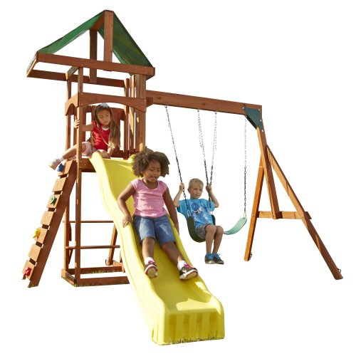 Swing-N-Slide Scrambler Playset with Two Swings, Slide and Rock Wall (Best Outdoor Playset For 2 Year Old)