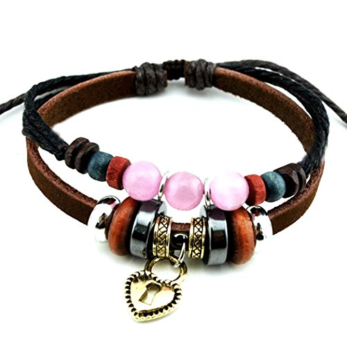 more-fun-pink-crystal-ball-bracelet-lovely-lock-heart-pendant-design-beaded-bracelet-for-lovers