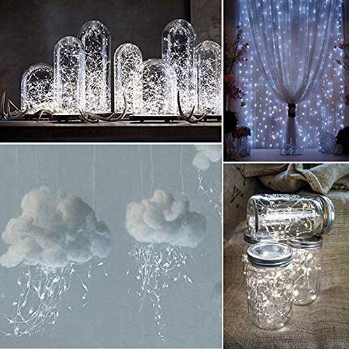 Solar Mason Jar Lid Lights LED String Lights Modes Outdoor Solar Fairy Lighting Waterproof Decorative Lights for Patio/Parties (White)