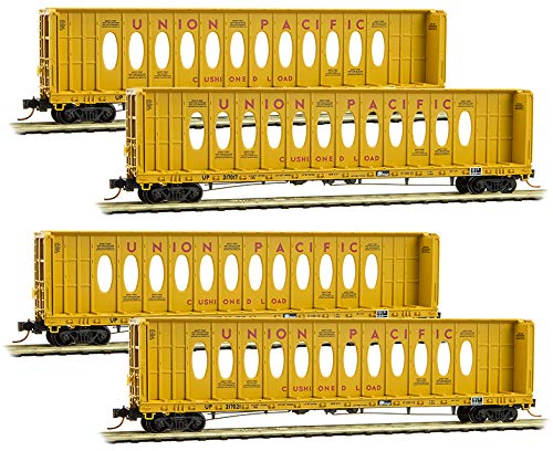 (Micro-Trains MTL N-Scale 60' Centerbeam Flat Cars Union Pacific/UP Runner 4-Pack)