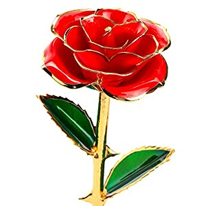 24k Gold Dipped Rose, Flower with Long Stem Rose Dipped in Gold Gift for Women Girls on Birthday, Valentine's Day, Mother's Day, Christmas (Red) 2
