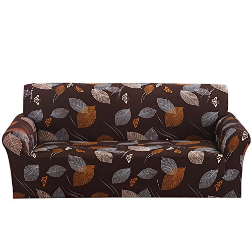 3 Sofa Leaf Piece (Stretch Loveseat Cover - Sofa Covers Slipcover Sofa - 1-Piece 1 2 3 4 Seater Furniture Protector Polyester Spandex Fabric Slipcover With a Pillow Cover for Children and Pets Leaves)