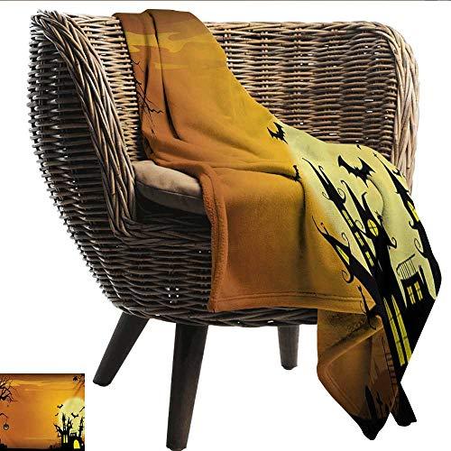 EwaskyOnline Halloween Knee Blanket Gothic Haunted House Bats Western Spooky Night Scene with Pumpkin Drawing Art Sofa Warm Bed 93