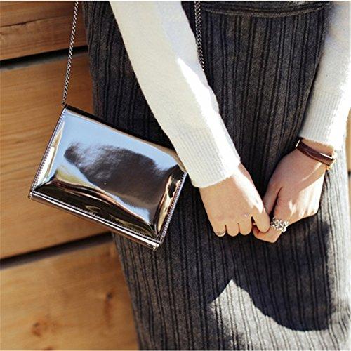 Qearly Damen Korean Stil Mini Leder Tasche Schultertasche Tote Umhaengetasche-Dunkel Silber Rosa Gold