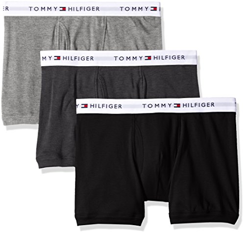Tommy Hilfiger Men's Underwear 3 Pack Cotton Classics Trunks, Grey Heather, Medium