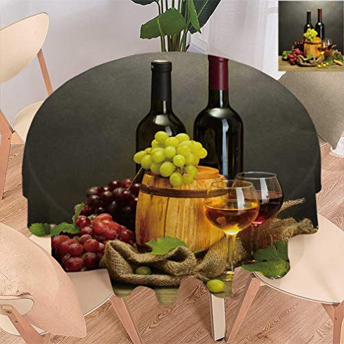 (Amazing Winery Decor Round Tablecloths, Red And White Wine Barrels Bottles Glasses Grapes on a Wooden Table with Grey Background Spillproof Tablecloth for Dining Room Kitchen, 54