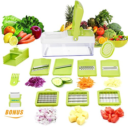 12 Chopper - Vegetable Slicer Dicer WEINAS Food Chopper Cuber Cutter, Cheese Grater Multi Blades for Onion Potato Tomato Fruit Extra Peeler Included