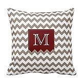 Lightinglife Sofa Pillows 18 X 18 Brownish Tan Zig Zag Pattern With Deep Red Box Pillow Cover