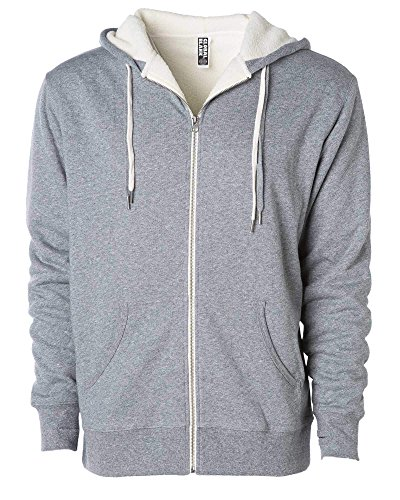 Global Blank Unisex Heavyweight Sherpa Lined Zip Up Fleece Hoodie Jacket Gray L