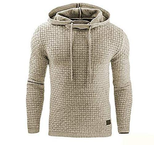 Sweater Men Autumn Winter Warm Knitted Men's Sweater Casual Hooded Pullover Men Cotton Sweatercoat,Khaki,XL