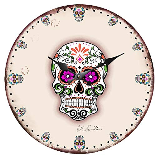 - GZMEI Day of The Dead Sugar Skull Skeleton Flowers Halloween 12 Inch Round Wall Clock Density Board Material