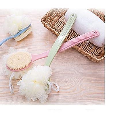 1 Pcs Bath Body Wash Brush,Soft Loofah Back Scrubber,Long Handled Shower Dry Skin Exfoliating Brush with Luffa Pouf Sponge,Bathroom Accessories,Men & Women