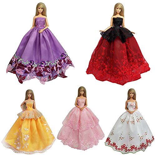 FairyStar 5pcs Fashion Handmade Evening Party Dress Clothes for Barbie Doll Girls Kids Birthday Holidays Christmas Xmas (Teen Christmas Dress)