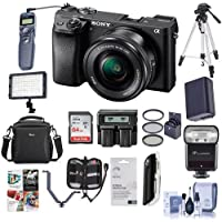Sony Alpha a6300 Mirrorless Digital Camera Black with 16-50mm Lens - Bundle With Camera Bag, 64GB U3 SDHC Cards, Spare Battery, Video Light, 40.5mm Filter Kit, Tripod, Flashpoint Flash And More