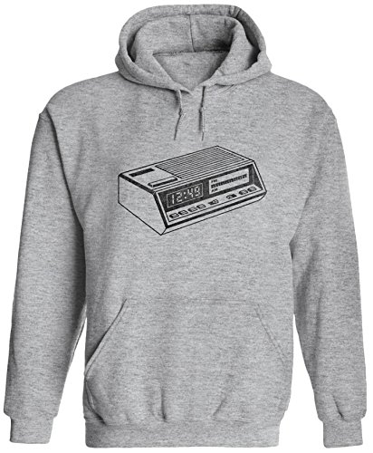 Austin Youth Bed (Austin Ink Apparel Unisex Mens Old Retro Alarm Clock Printed Pullover Hooded Sweatshirt (Heather Grey, 2XL))